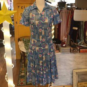 Vintage Floral Drop Waist Scooter Dress 🌸